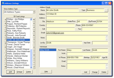 Main Screen of our Address Book Software