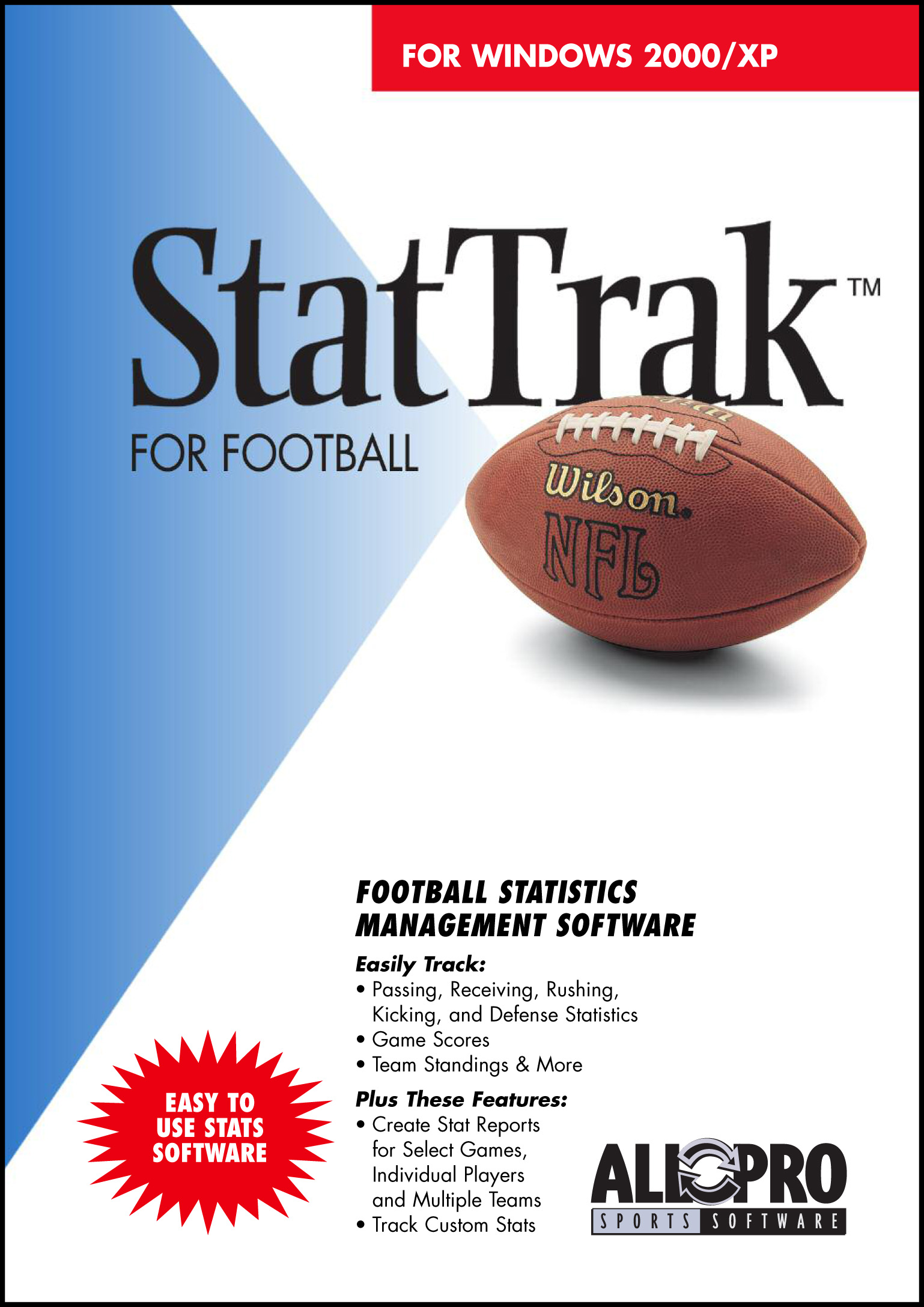 StatTrak for Football - football stats software, stat software, stats software, football software, footb - StatTrak for Football software is a complete stats program with many options.