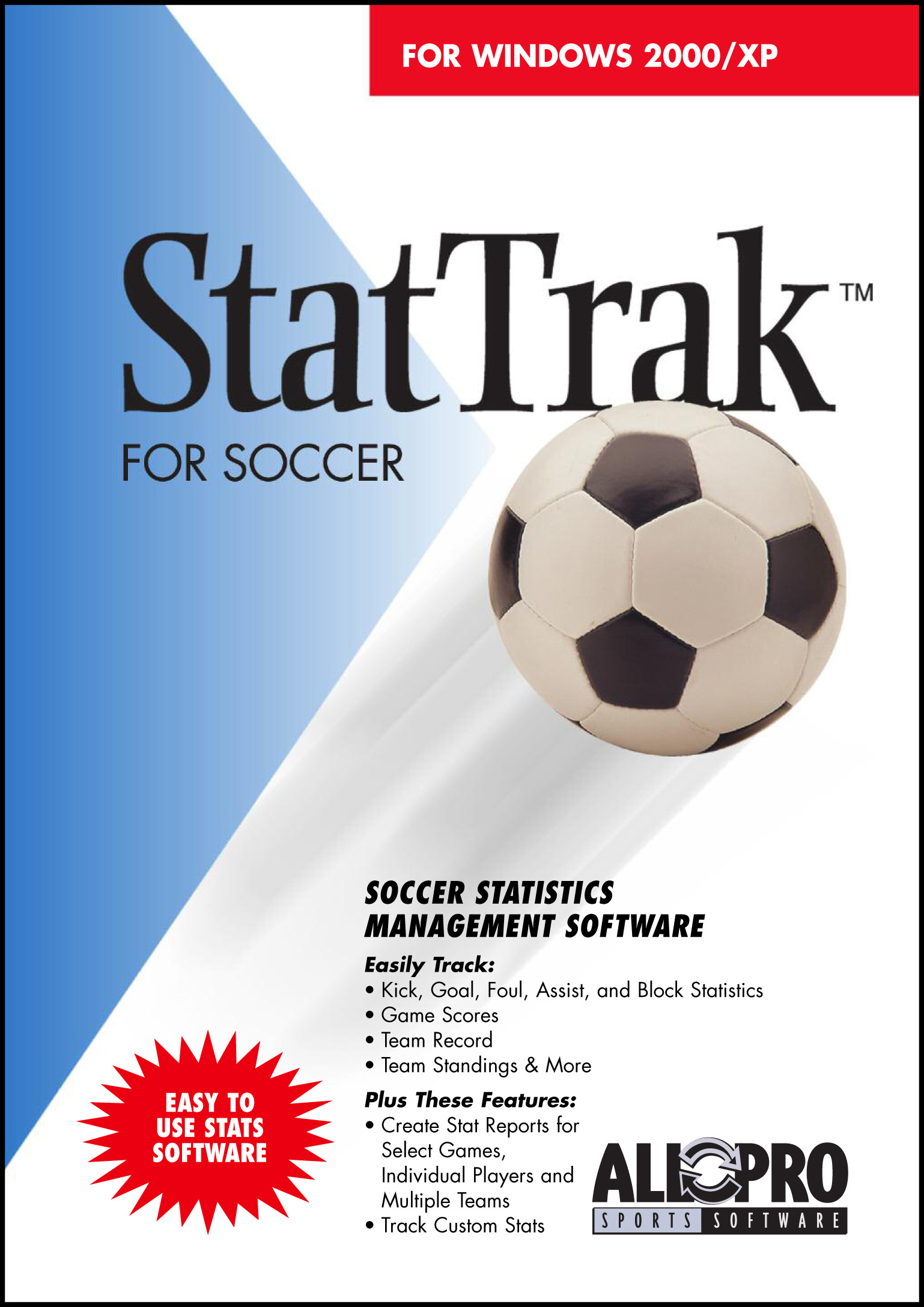 StatTrak for Soccer software is a complete stats program with many options yet very easy to use. Track and calculate over 40 stats for Kicks, Goals, Fouls, Blocks, Assists, game scores, won/lost record, team standings and more.