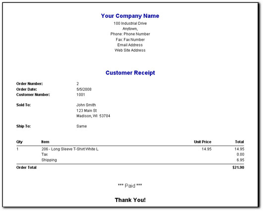 EZ Small Business Software Screen Images – Company Receipt